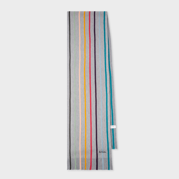 Grey Twisted 'Artist Stripe' Wool Scarf