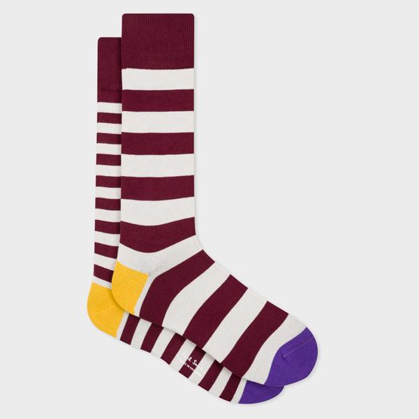 Men's Burgundy And Ecru Stripe Odd Socks