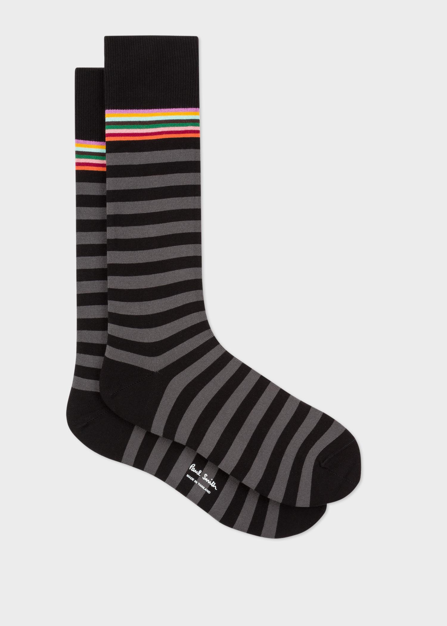 Men's Black And Grey Stripe Socks