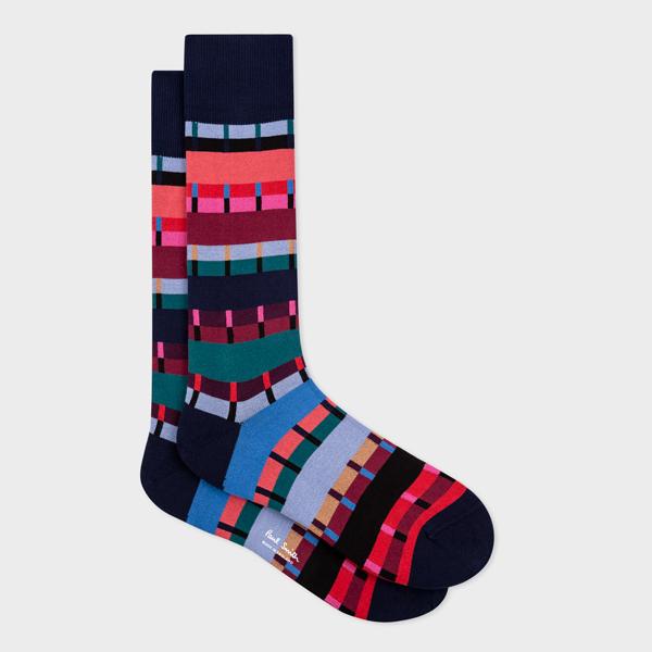 Men's Navy 'Pippin Stripe' Socks