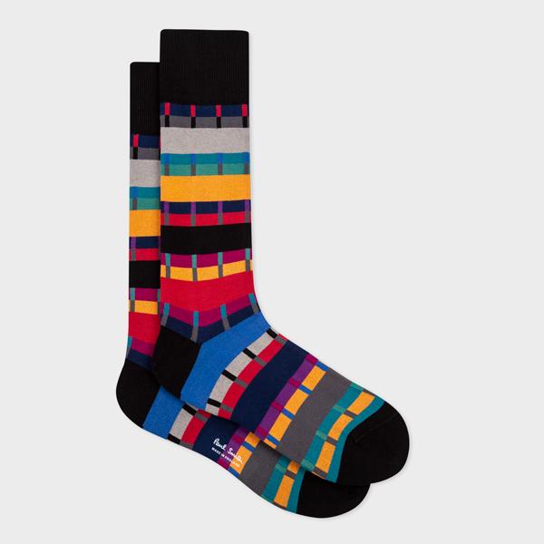 Men's Black 'Pippin Stripe' Socks