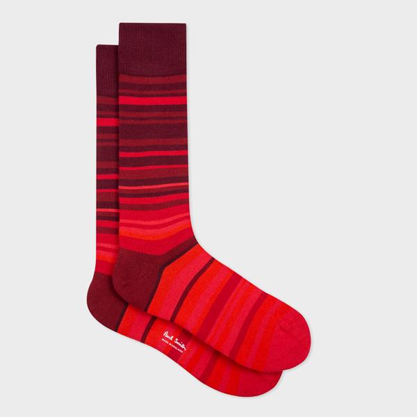 Men's Red Tonal Stripe Socks