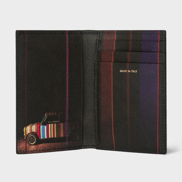 Men's Black Leather Credit Card Wallet With 'Mini' Print Interior