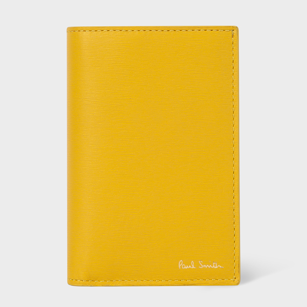 Mustard Contrast Interior Leather Credit Card Wallet