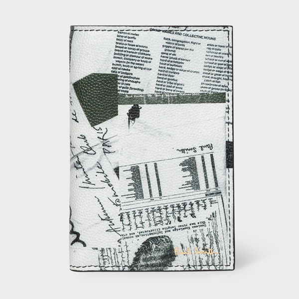 White 'Show Collage' Leather Credit Card Wallet
