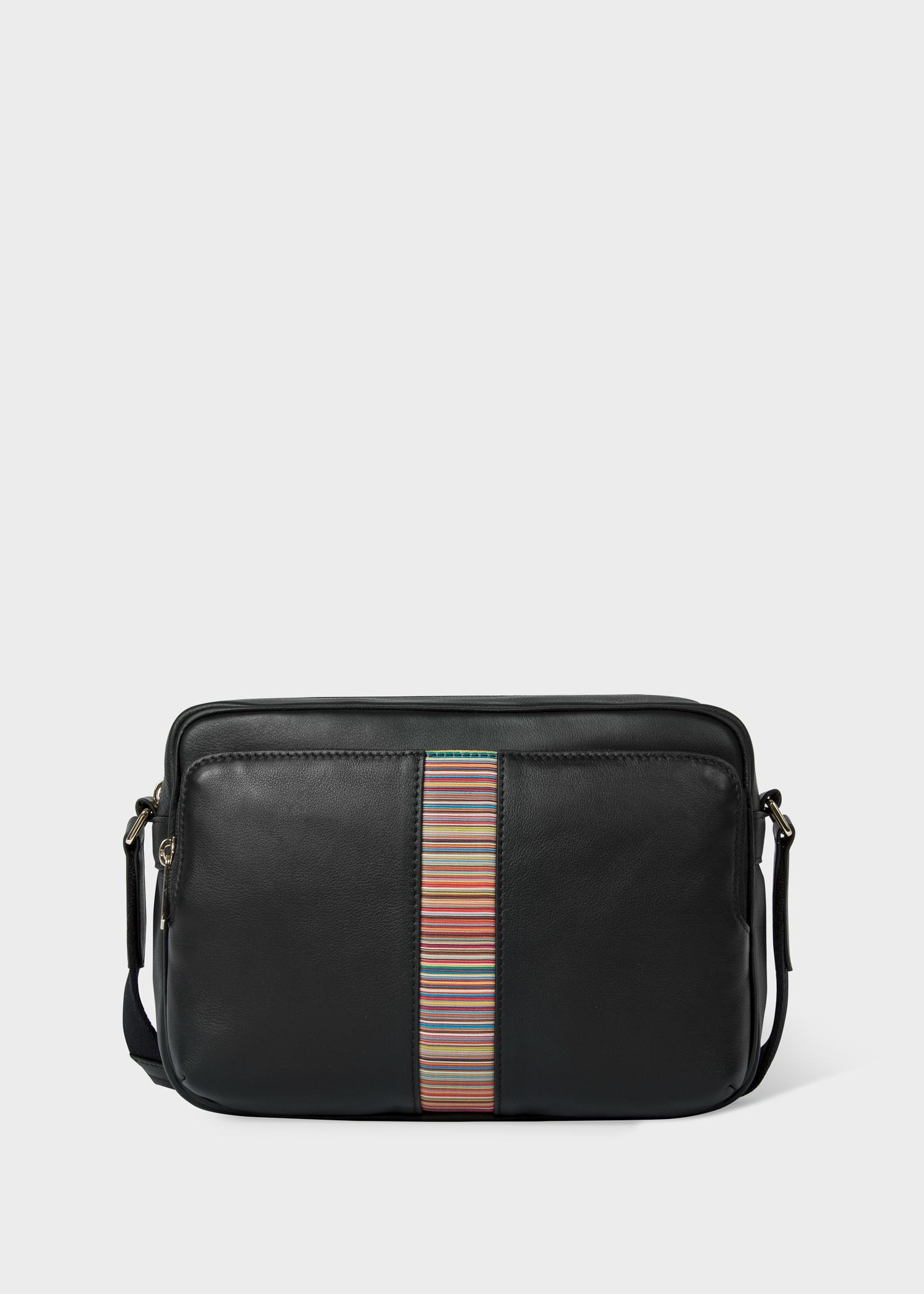 Men's Black Leather 'Signature Stripe' Cross-Body Bag