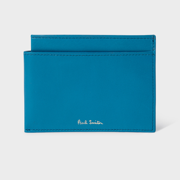 Men's Blue 'Folded' Leather Credit Card Holder