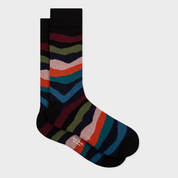 Black 'Mountain Stripe' Socks