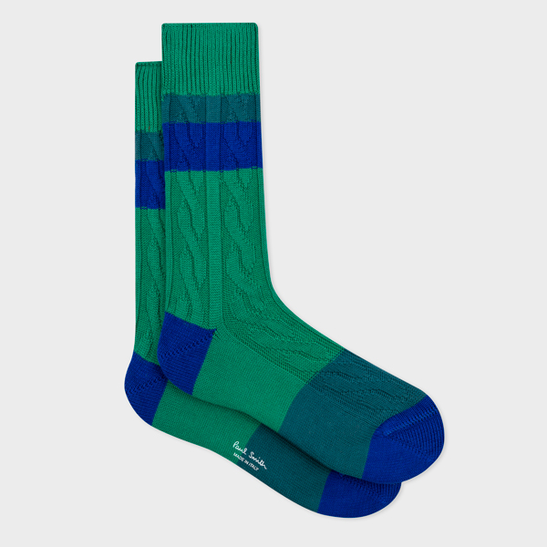 Men's Green Cable-Knit Socks