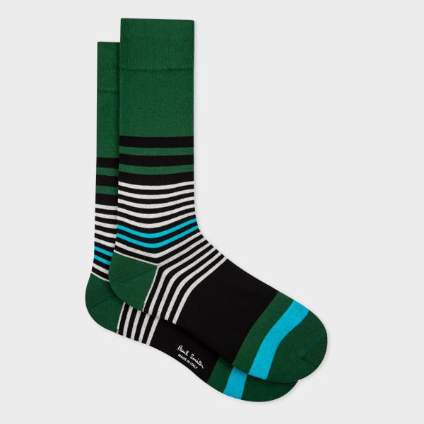 Men's Green Mix-Stripe Socks