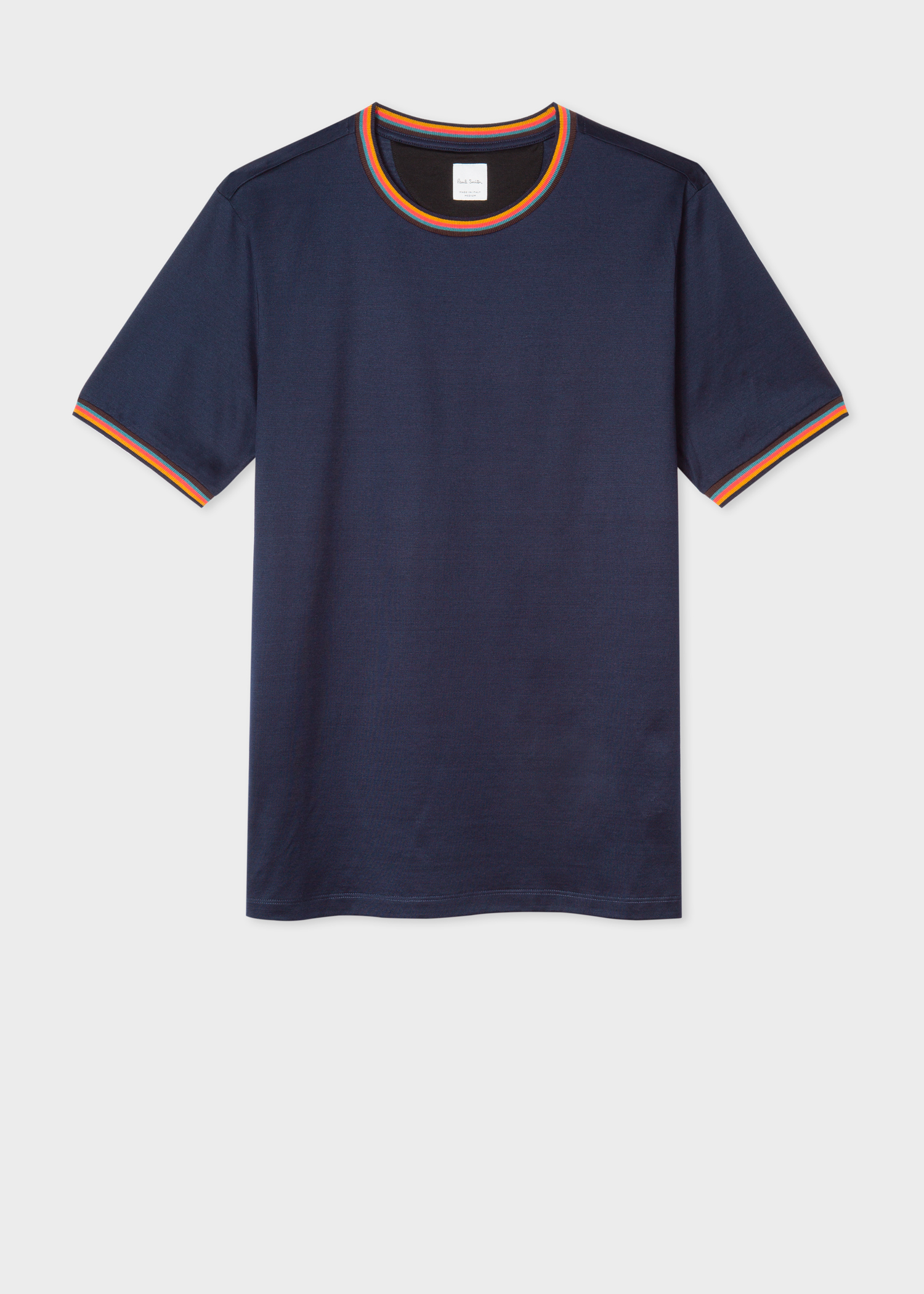 Men's Dark Navy Cotton T-Shirt With 'Artist Stripe' Trims