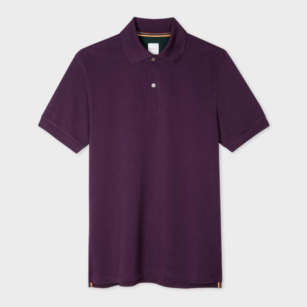 Men's Slim-Fit Purple Cotton-Piqué Polo Shirt