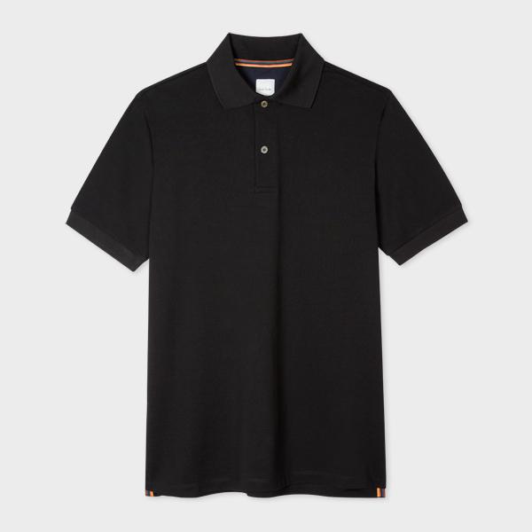Men's Black Cotton-Piqué Polo Shirt