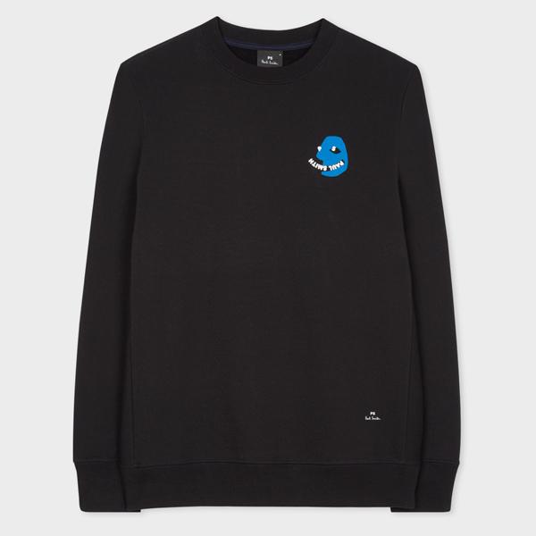 Men's Black Organic Cotton 'PS Face' Print Sweatshirt