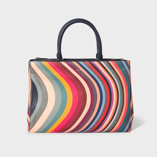 Women's 'Swirl' Print Leather Tote Bag