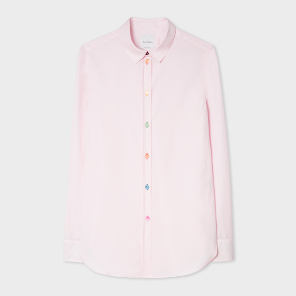 Women's Slim-Fit Light Pink Cotton Shirt With 'Signature Stripe' Cuff Lining