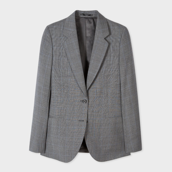 Women's Grey Glen Check Wool Blazer