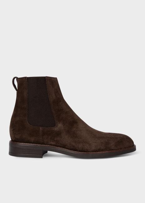 폴 스미스 부츠 Paul Smith Mens Dark Brown Suede Canon Chelsea Boots