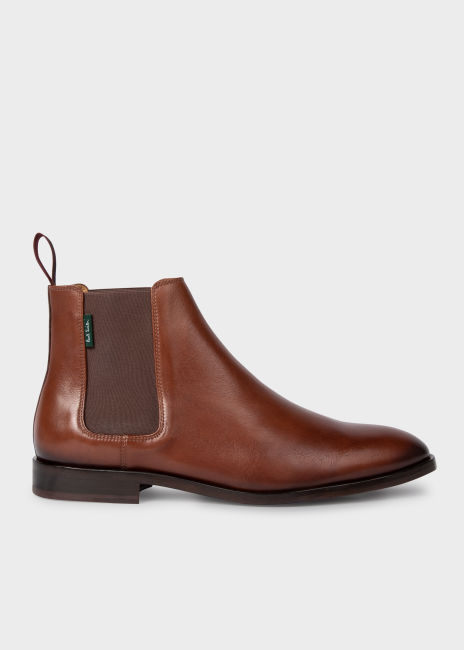 폴 스미스 부츠 Paul Smith Mens Tan Leather Gerald Chelsea Boots