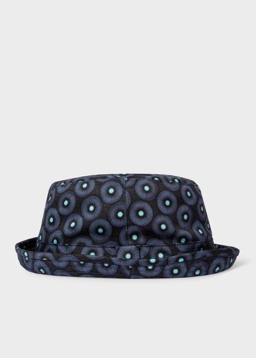 폴 스미스 Paul Smith Mens Black Spiral Print Cotton Bucket Hat
