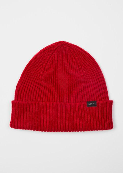 폴 스미스 Paul Smith Mens Red Cashmere-Blend Beanie Hat
