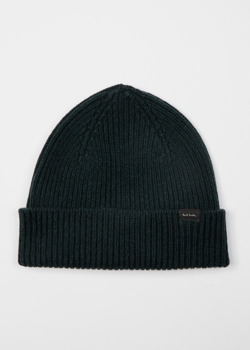 폴 스미스 Paul Smith Mens Dark Green Cashmere-Blend Beanie Hat