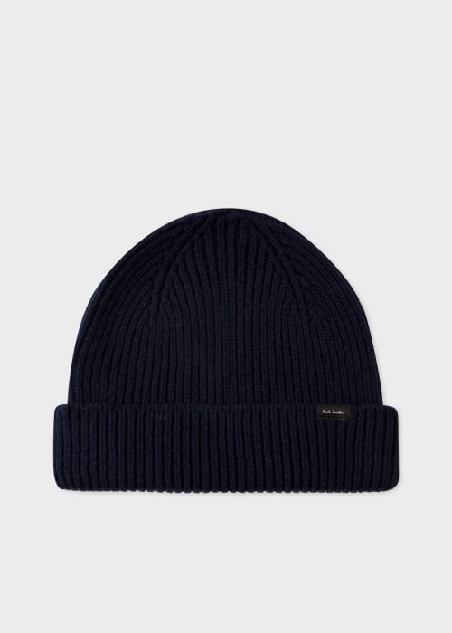 폴 스미스 Paul Smith Mens Navy Cashmere-Blend Ribbed Beanie Hat