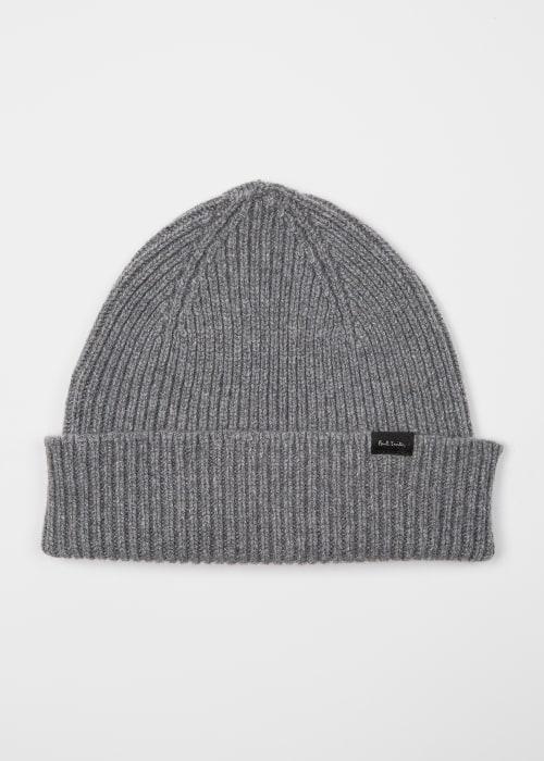 폴 스미스 Paul Smith Mens Grey Cashmere-Blend Ribbed Beanie Hat