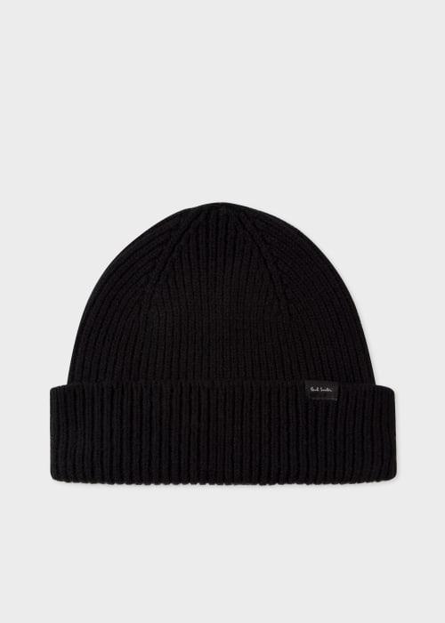 폴 스미스 Paul Smith Mens Black Cashmere-Blend Beanie Hat