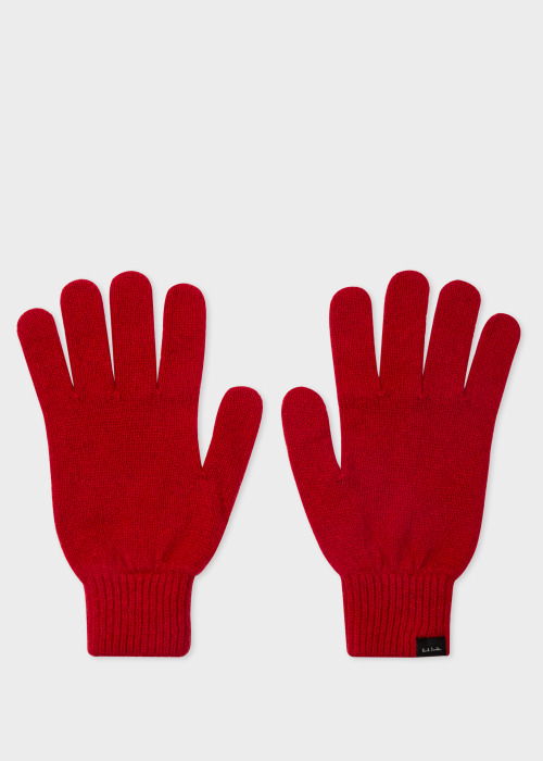 폴 스미스 Paul Smith Mens Red Cashmere And Merino Wool Gloves