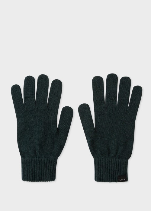 폴 스미스 Paul Smith Mens Dark Green Cashmere-Blend Gloves