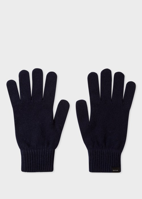 폴 스미스 Paul Smith Mens Dark Navy Cashmere And Merino Wool Gloves
