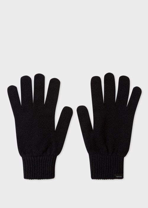 폴 스미스 Paul Smith Mens Black Cashmere And Merino Wool Gloves