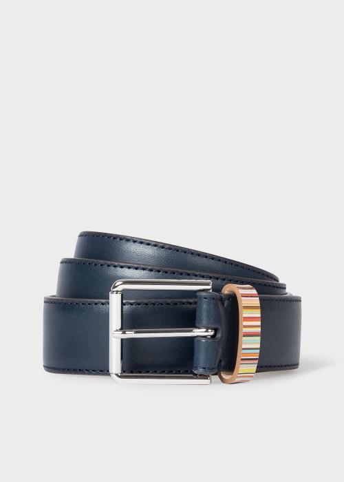 폴 스미스 Paul Smith Mens Navy Leather Belt With Signature Stripe Keeper