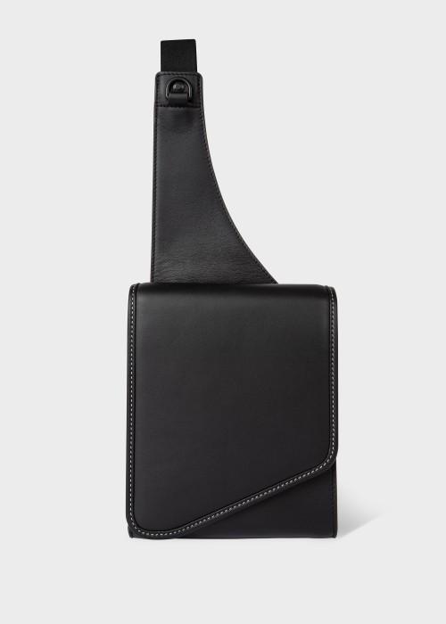 폴 스미스 Paul Smith Mens Black Leather Sling Cross-Body Bag