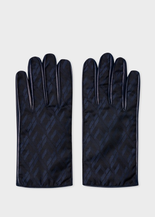 폴 스미스 Paul Smith Mens Navy Leather Gloves With House Jacquard Panel