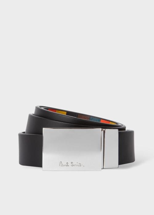 폴 스미스 Paul Smith Mens Black And Bright Stripe Leather Cut-To-Fit Reversible Belt