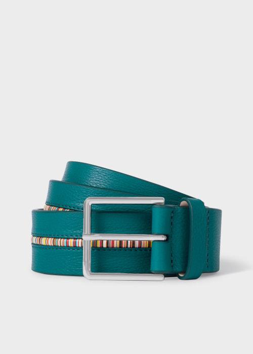 폴 스미스 Paul Smith Mens Turquoise Leather Belt With Signature Stripe Insert