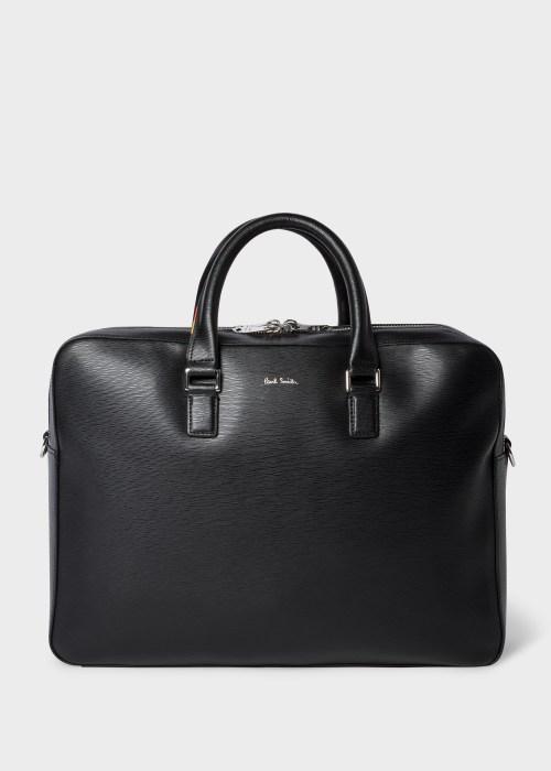 폴 스미스 서류 가방 Paul Smith Mens Black Embossed Leather Business Folio With Bright Stripe Trim