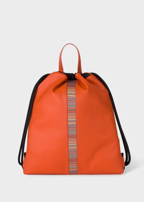 폴 스미스 Paul Smith Orange Leather Signature Stripe Drawstring Backpack