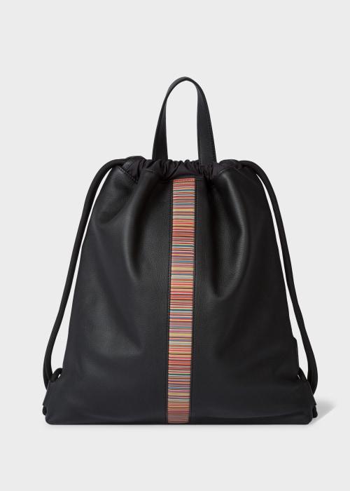 폴 스미스 Paul Smith Black Leather Signature Stripe Drawstring Backpack