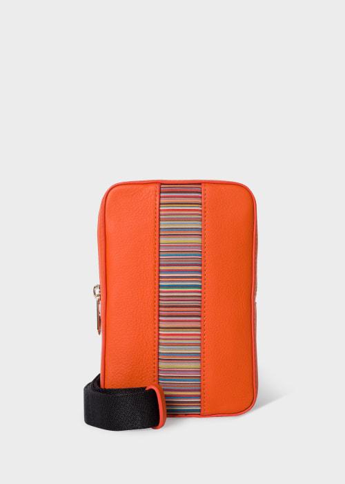 폴 스미스 Paul Smith Orange Leather Signature Stripe Neck Pouch