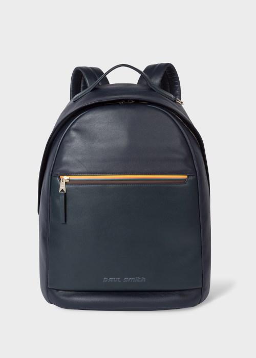 폴 스미스 Paul Smith Navy Leather Backpack With Bright Stripe Zip