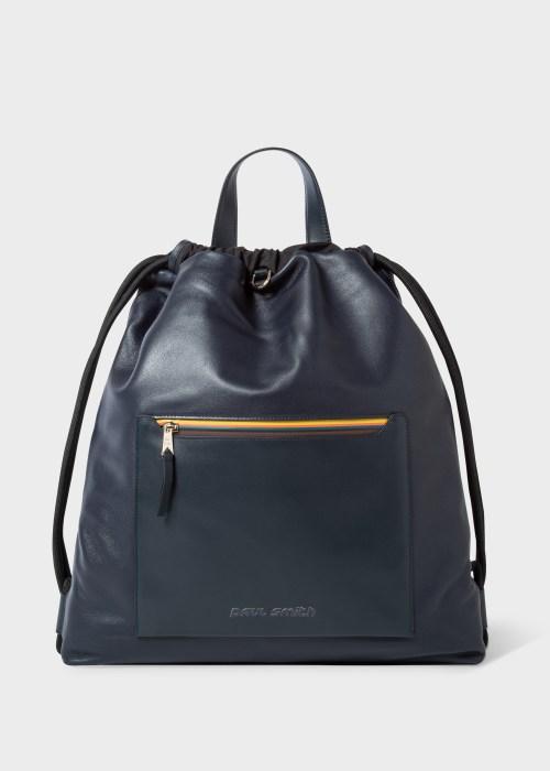 폴 스미스 Paul Smith Navy Drawstring Backpack With Bright Stripe Zip