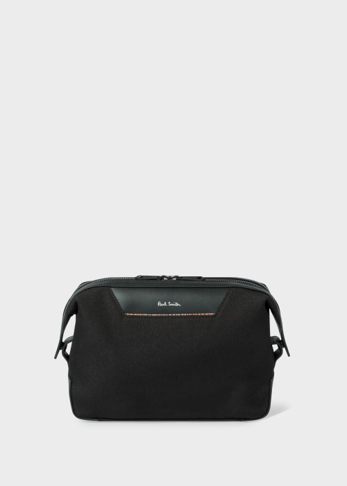 폴 스미스 Paul Smith Black Canvas Travel Wash Bag With Signature Stripe Trim