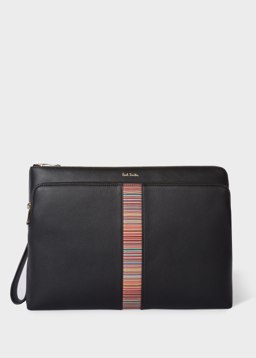 폴 스미스 Paul Smith Mens Black Leather Signature Stripe Document Case
