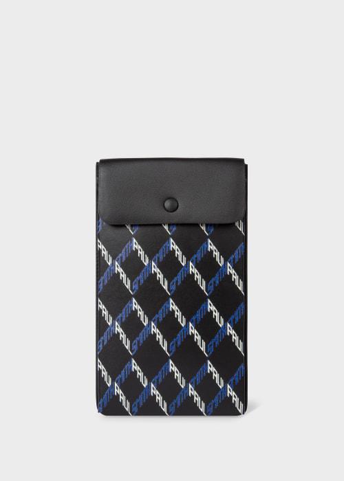 폴 스미스 Paul Smith Black Geo Print Leather Neck Pouch