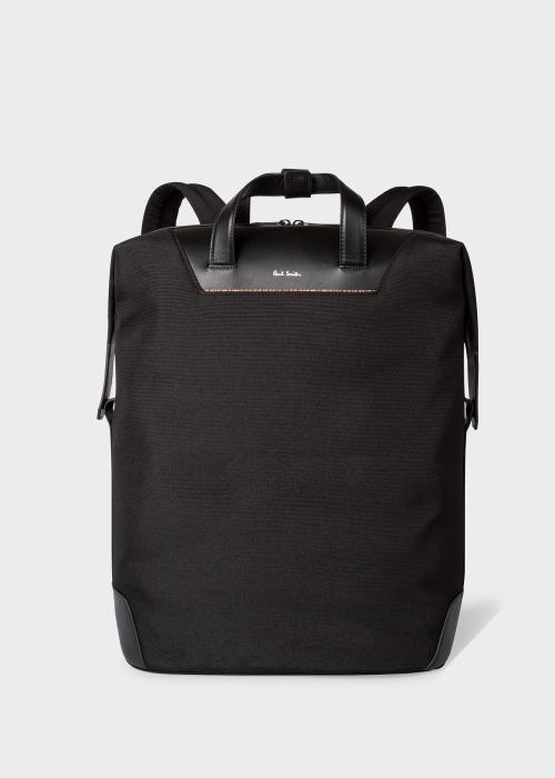 폴 스미스 Paul Smith Black Canvas Travel Backpack With Signature Stripe Trim
