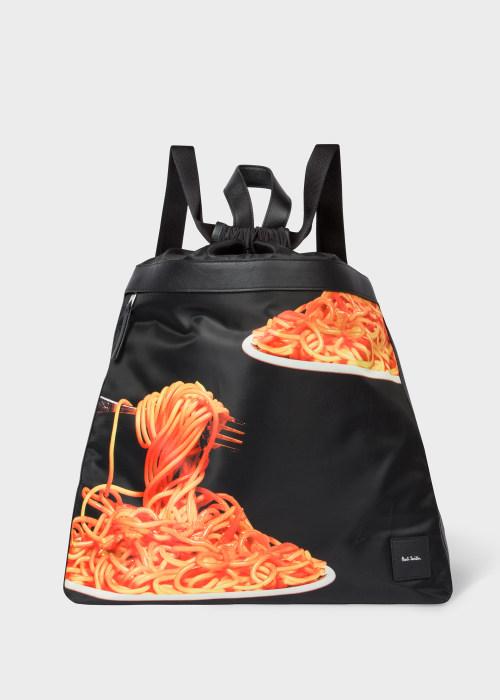 폴 스미스 Paul Smith Mens Black Spaghetti Print Drawstring Backpack