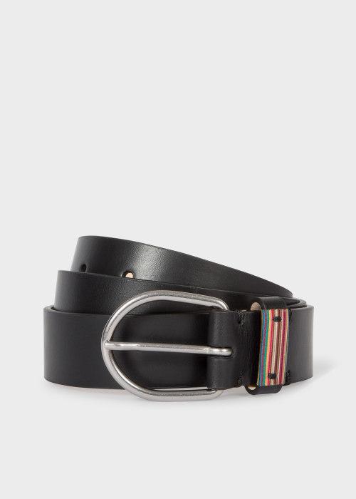 폴 스미스 Paul Smith Mens Black Leather Belt With Signature Stripe Detail